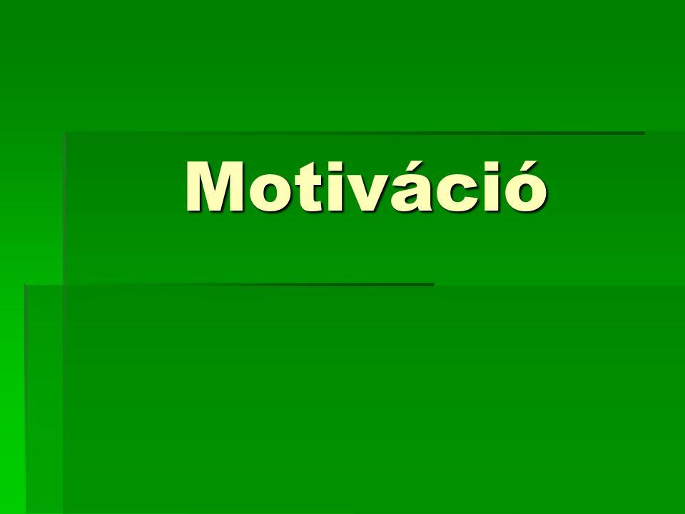 A motiváció fogalma  Minden belső, cselekvésre ösztönző tényező  Cselekvéseink hátterének és mozgatórugóinak gyűjtőfogalma.