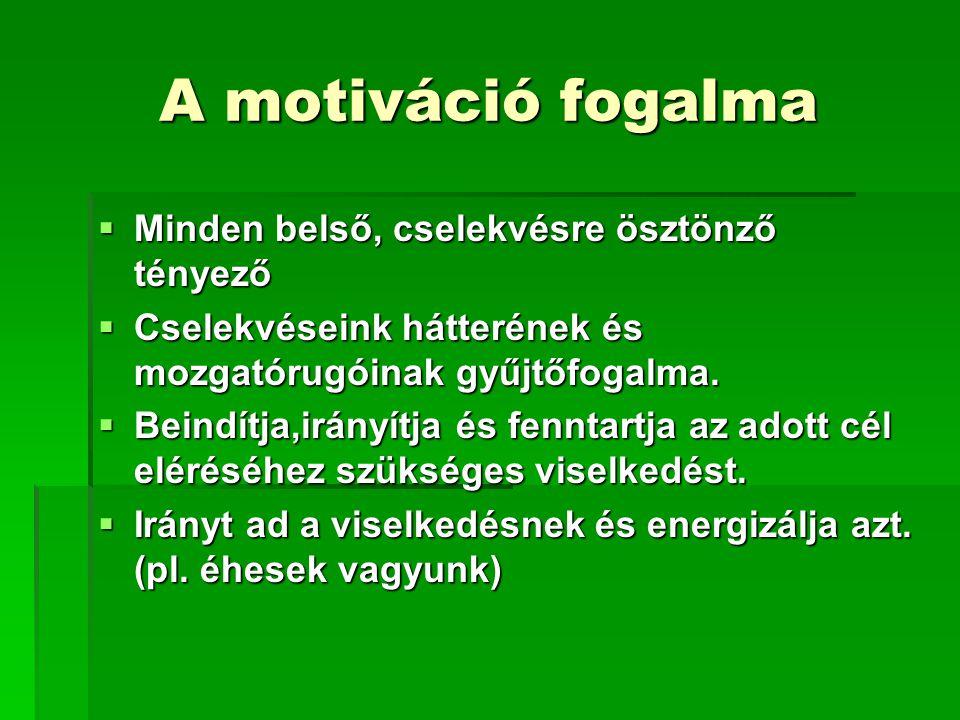 A motiváció fogalma  Minden belső, cselekvésre ösztönző tényező  Cselekvéseink hátterének és mozgatórugóinak gyűjtőfogalma.  Beindítja,irányítja és