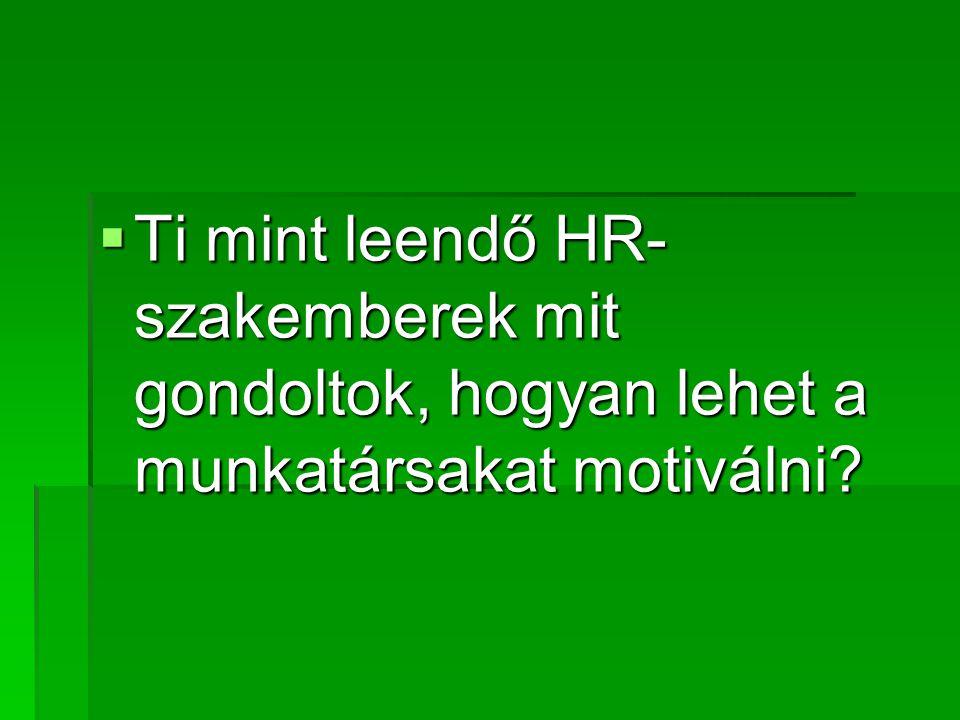  Ti mint leendő HR- szakemberek mit gondoltok, hogyan lehet a munkatársakat motiválni?