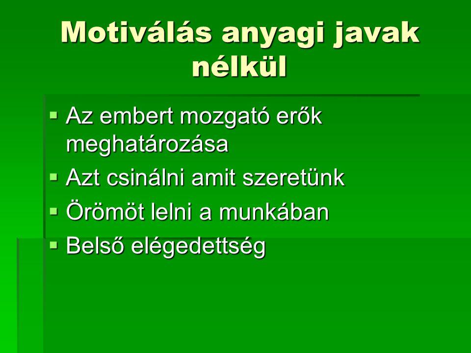 Motiválás anyagi javak nélkül  Az embert mozgató erők meghatározása  Azt csinálni amit szeretünk  Örömöt lelni a munkában  Belső elégedettség