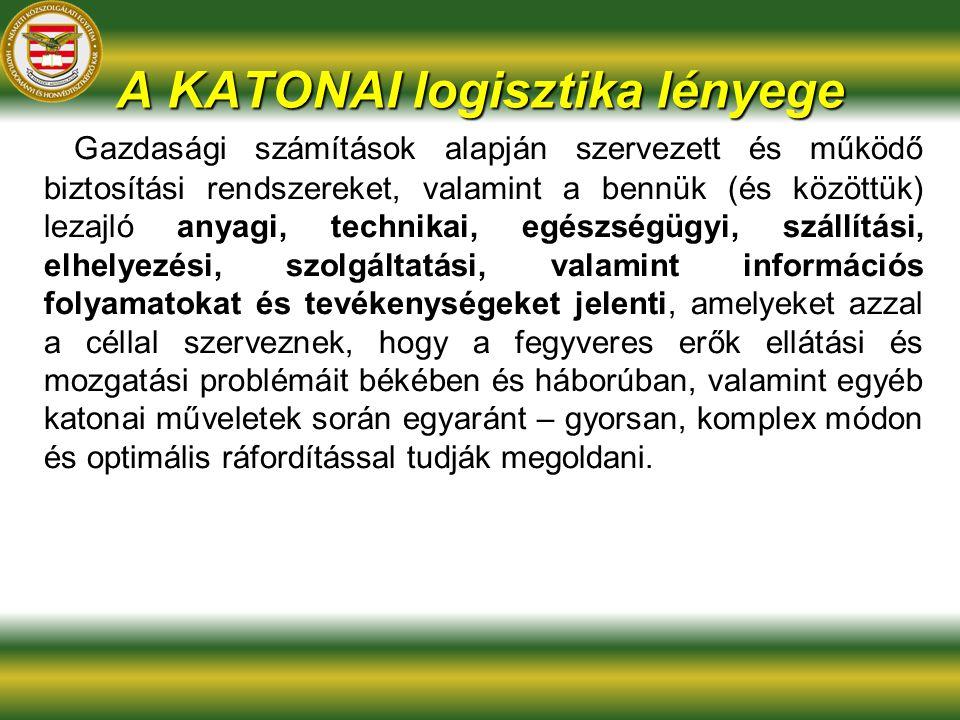 A KATONAI logisztika lényege anyagi, technikai, egészségügyi, szállítási, elhelyezési, szolgáltatási, valamint információs folyamatokat és tevékenység