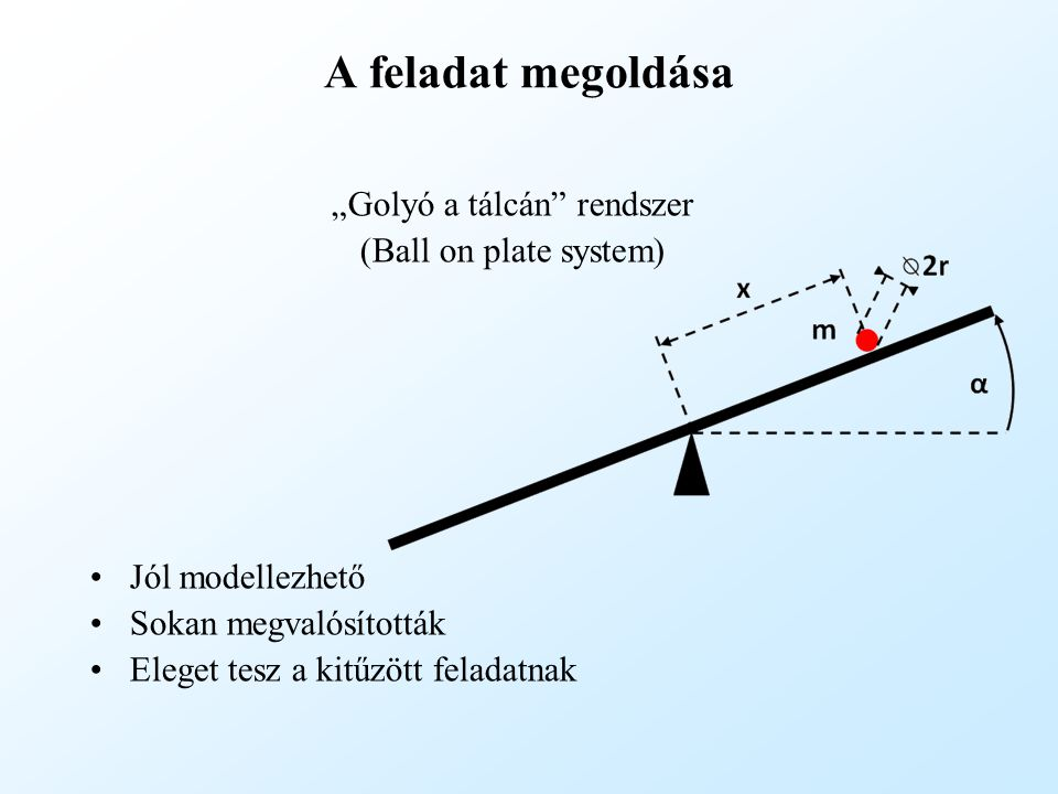 """A feladat megoldása """"Golyó a tálcán"""" rendszer (Ball on plate system) Jól modellezhető Sokan megvalósították Eleget tesz a kitűzött feladatnak"""