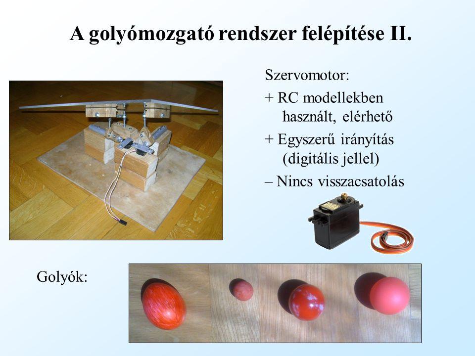 A golyómozgató rendszer felépítése II. Szervomotor: + RC modellekben használt, elérhető + Egyszerű irányítás (digitális jellel) – Nincs visszacsatolás