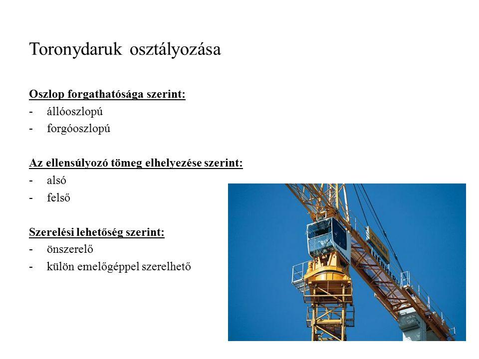 Toronydaruk osztályozása Oszlop forgathatósága szerint: -állóoszlopú -forgóoszlopú Az ellensúlyozó tömeg elhelyezése szerint: -alsó -felső Szerelési l