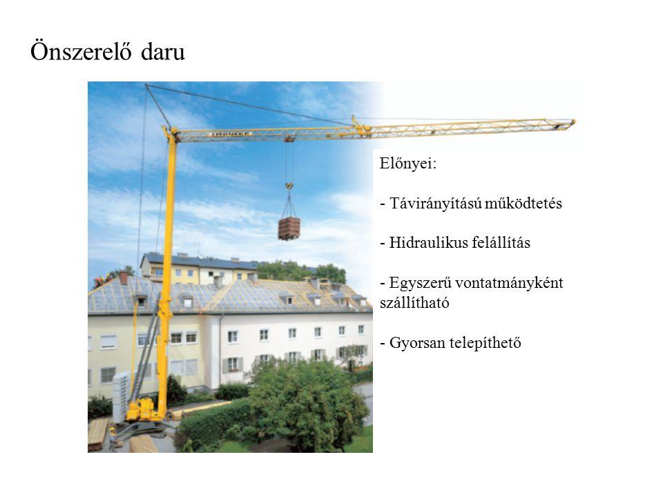 Önszerelő daru Előnyei: - Távirányítású működtetés - Hidraulikus felállítás - Egyszerű vontatmányként szállítható - Gyorsan telepíthető
