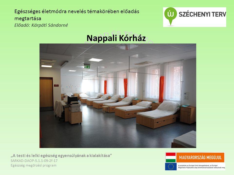 """Nappali Kórház """"A testi és lelki egészség egyensúlyának a kialakítása"""" SARKAD-DAOP-5.1.1-09-2f-17 Egészség megőrzési program Egészséges életmódra neve"""