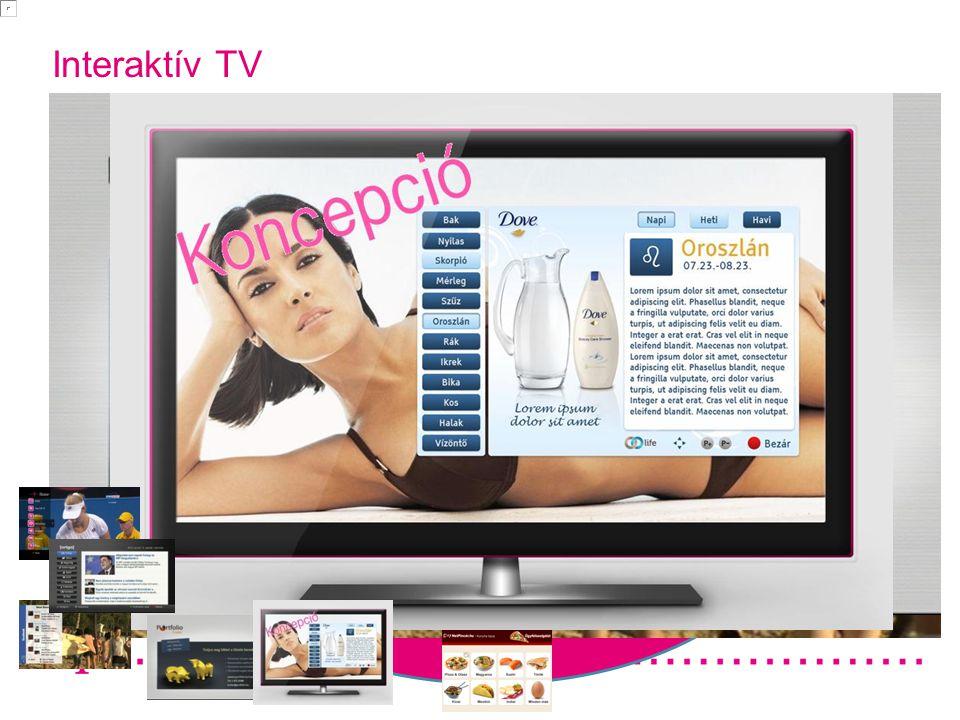"""Interaktivitás fókuszban Alkalmazás ok Operátor fejlesztések: cél a megkülönböztet és aTV piacon Facebook on TV, VOD, Zene A """"TE fejlesztés eid Tartalom- együttműködés ek Hirdess a TV képernyőn TV-n történő értékesítés Tranzakció alapú Előfizetés alapú Élő TV kapcsolódás (fogadás, szavazás, értékelés) Ügyfél azonosítás Saleshouse tevékenysé g Fizettetés Interaktív TV 2012.02.29"""
