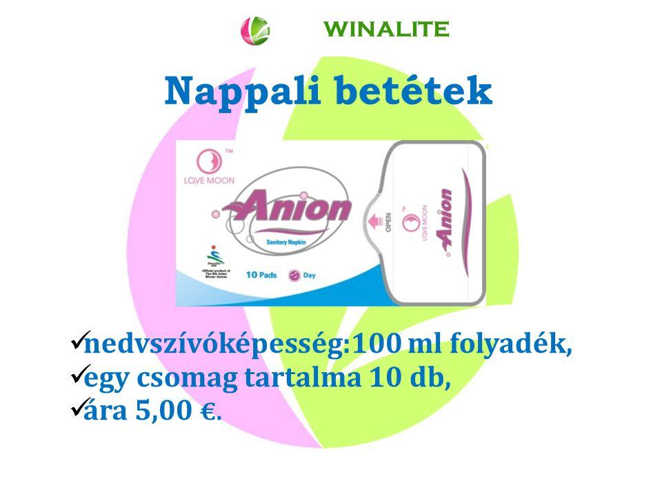 Nappali betétek nedvszívóképesség:100 ml folyadék, egy csomag tartalma 10 db, ára 5,00 €. WINALITE