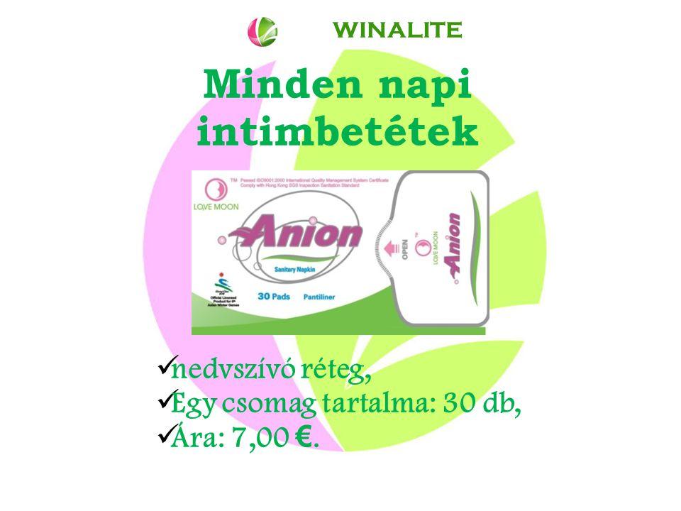Minden napi intimbetétek nedvszívó réteg, Egy csomag tartalma: 30 db, Ára: 7,00 €. WINALITE