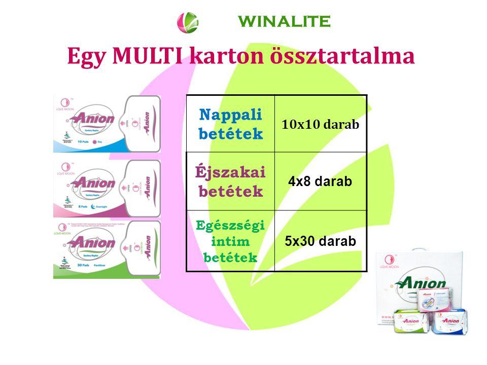 Egy MULTI karton össztartalma WINALITE Nappali betétek 10x10 darab Éjszakai betétek 4x8 darab Egészségi intim betétek 5x30 darab