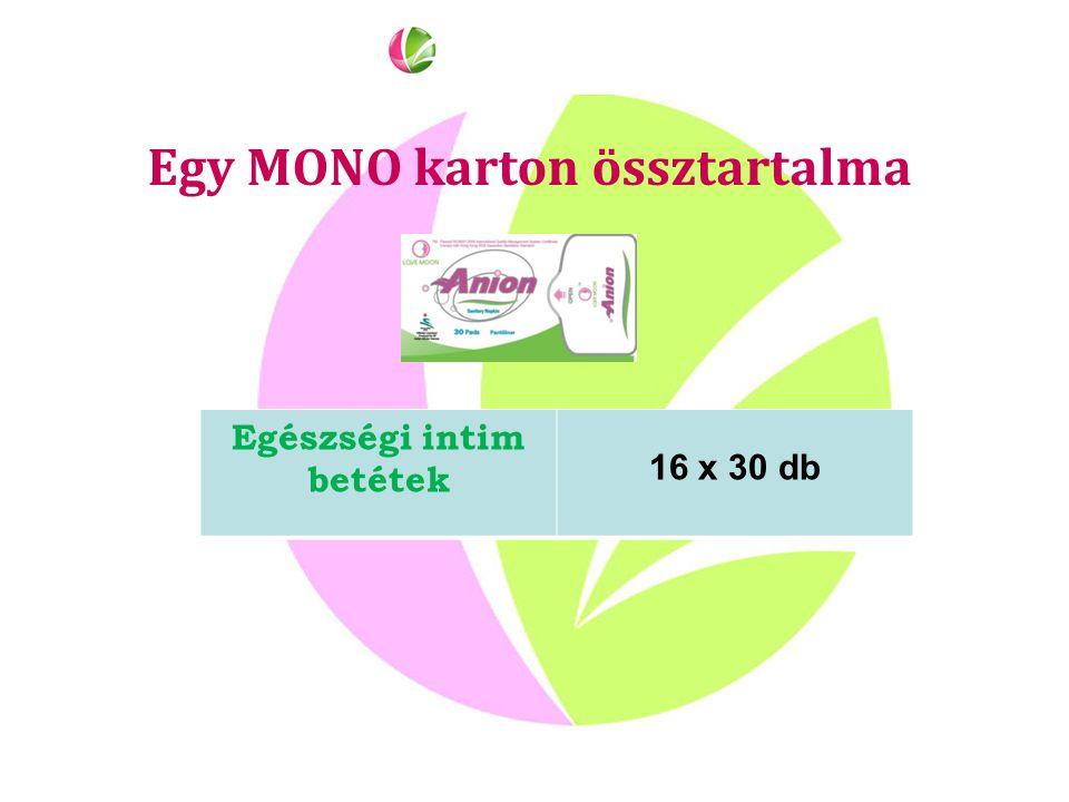 Egy MONO karton össztartalma Egészségi intim betétek 16 x 30 db