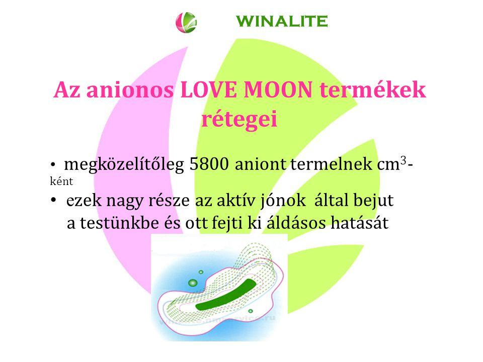 Az anionos LOVE MOON termékek rétegei megközelítőleg 5800 aniont termelnek cm 3 - ként e zek nagy része az aktív jónok által bejut a testünkbe és ott