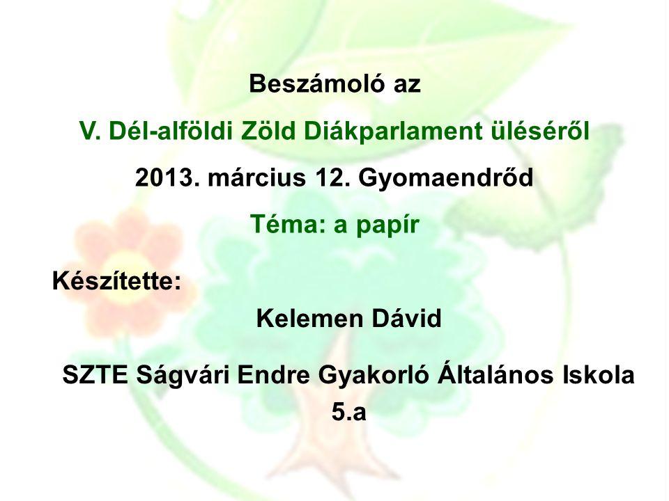 Beszámoló az V. Dél-alföldi Zöld Diákparlament üléséről 2013.