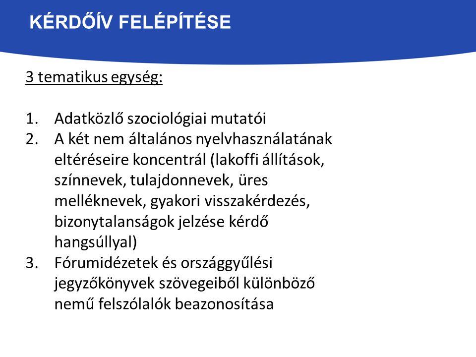 KÉRDŐÍV FELÉPÍTÉSE 3 tematikus egység: 1.Adatközlő szociológiai mutatói 2.A két nem általános nyelvhasználatának eltéréseire koncentrál (lakoffi állít