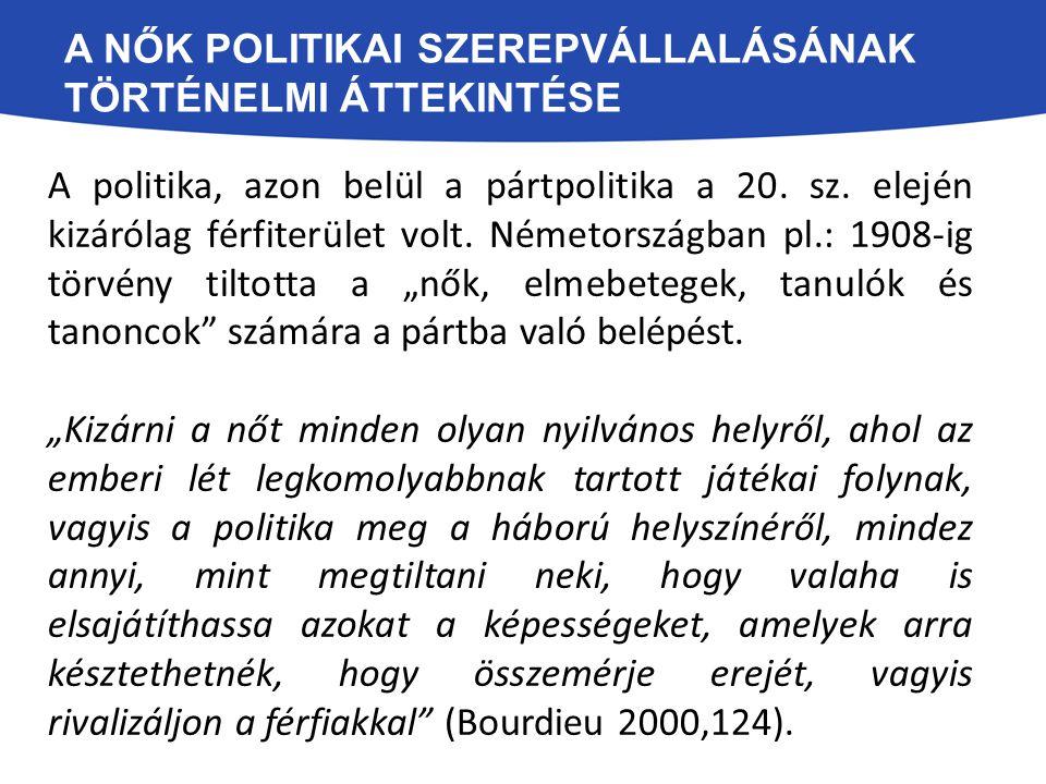 A NŐK POLITIKAI SZEREPVÁLLALÁSÁNAK TÖRTÉNELMI ÁTTEKINTÉSE A politika, azon belül a pártpolitika a 20. sz. elején kizárólag férfiterület volt. Németors