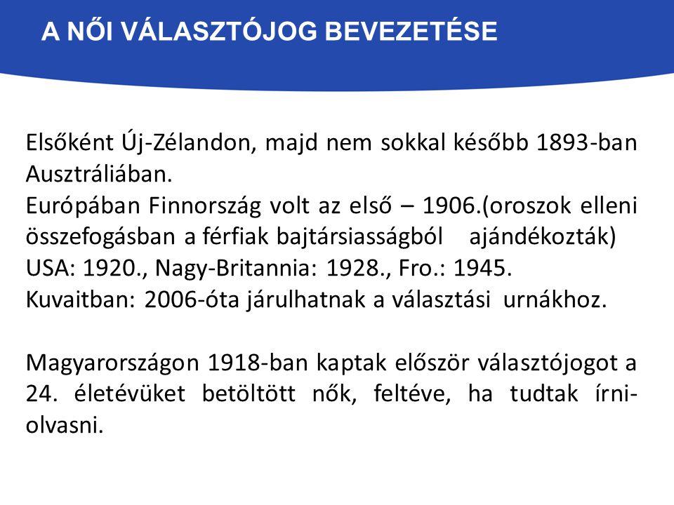 A NŐI VÁLASZTÓJOG BEVEZETÉSE Elsőként Új-Zélandon, majd nem sokkal később 1893-ban Ausztráliában. Európában Finnország volt az első – 1906.(oroszok el