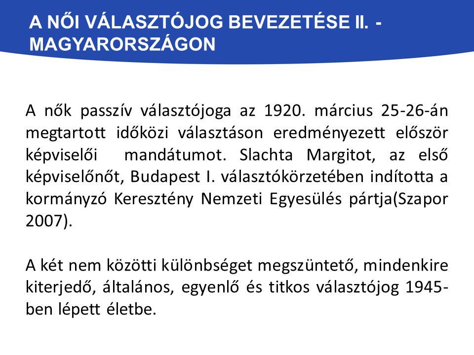 A NŐI VÁLASZTÓJOG BEVEZETÉSE II. - MAGYARORSZÁGON A nők passzív választójoga az 1920. március 25-26-án megtartott időközi választáson eredményezett el