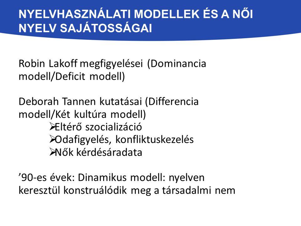 NYELVHASZNÁLATI MODELLEK ÉS A NŐI NYELV SAJÁTOSSÁGAI Robin Lakoff megfigyelései (Dominancia modell/Deficit modell) Deborah Tannen kutatásai (Differenc