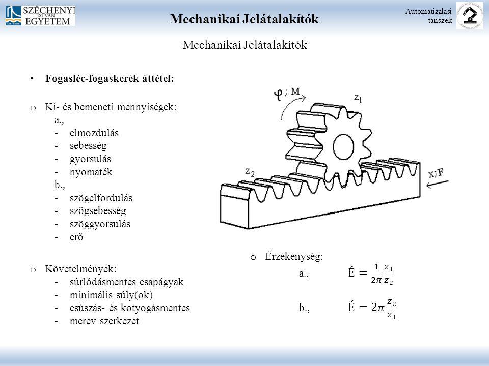 Mechanikai Jelátalakítók Automatizálási tanszék Mechanikai Jelátalakítók Fogasléc-fogaskerék áttétel: o Ki- és bemeneti mennyiségek: a., -elmozdulás -sebesség -gyorsulás -nyomaték b., -szögelfordulás -szögsebesség -szöggyorsulás -erő o Követelmények: -súrlódásmentes csapágyak -minimális súly(ok) -csúszás- és kotyogásmentes -merev szerkezet