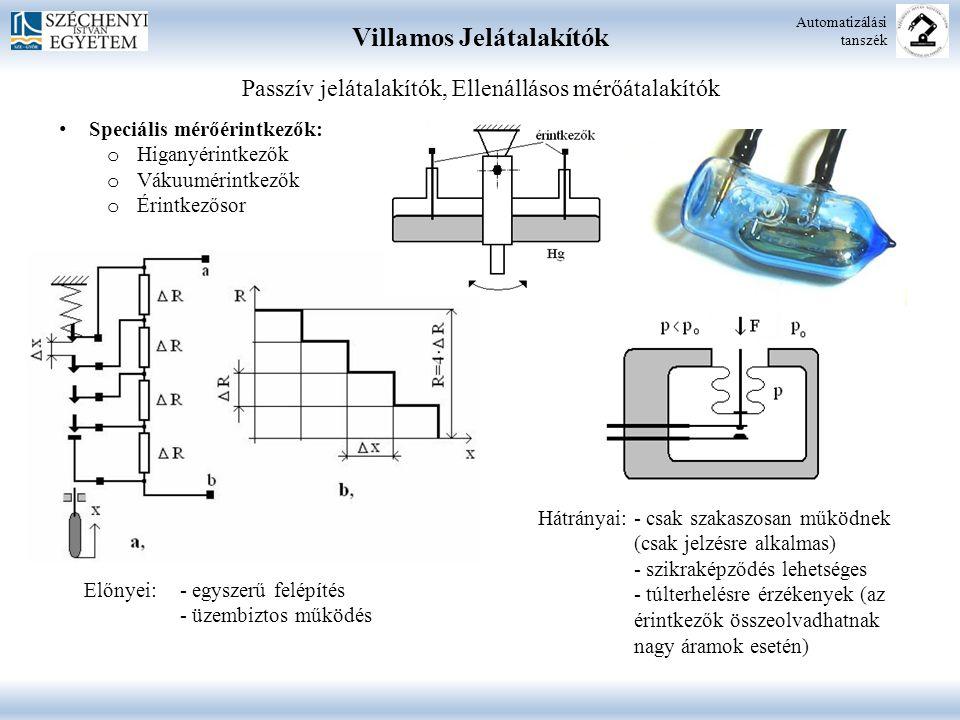 Villamos Jelátalakítók Automatizálási tanszék Speciális mérőérintkezők: o Higanyérintkezők o Vákuumérintkezők o Érintkezősor Előnyei: - egyszerű felépítés - üzembiztos működés Hátrányai: - csak szakaszosan működnek (csak jelzésre alkalmas) - szikraképződés lehetséges - túlterhelésre érzékenyek (az érintkezők összeolvadhatnak nagy áramok esetén) Passzív jelátalakítók, Ellenállásos mérőátalakítók