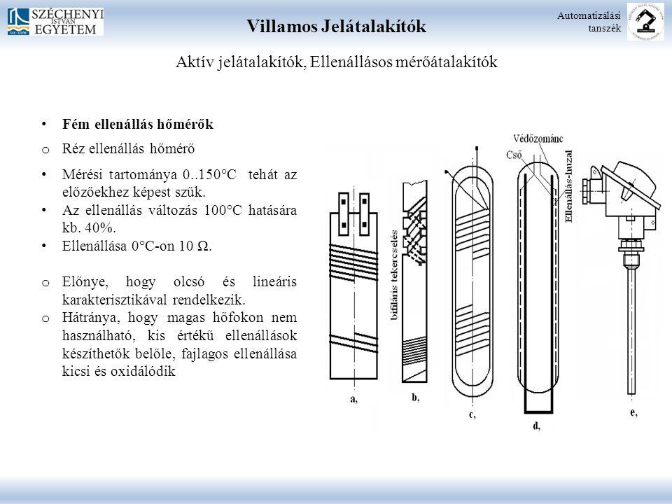 Villamos Jelátalakítók Automatizálási tanszék Aktív jelátalakítók, Ellenállásos mérőátalakítók Fém ellenállás hőmérők o Réz ellenállás hőmérő Mérési tartománya 0..150°C tehát az előzőekhez képest szűk.