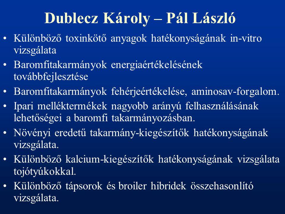 Dublecz Károly – Pál László Különböző toxinkötő anyagok hatékonyságának in-vitro vizsgálata Baromfitakarmányok energiaértékelésének továbbfejlesztése Baromfitakarmányok fehérjeértékelése, aminosav-forgalom.