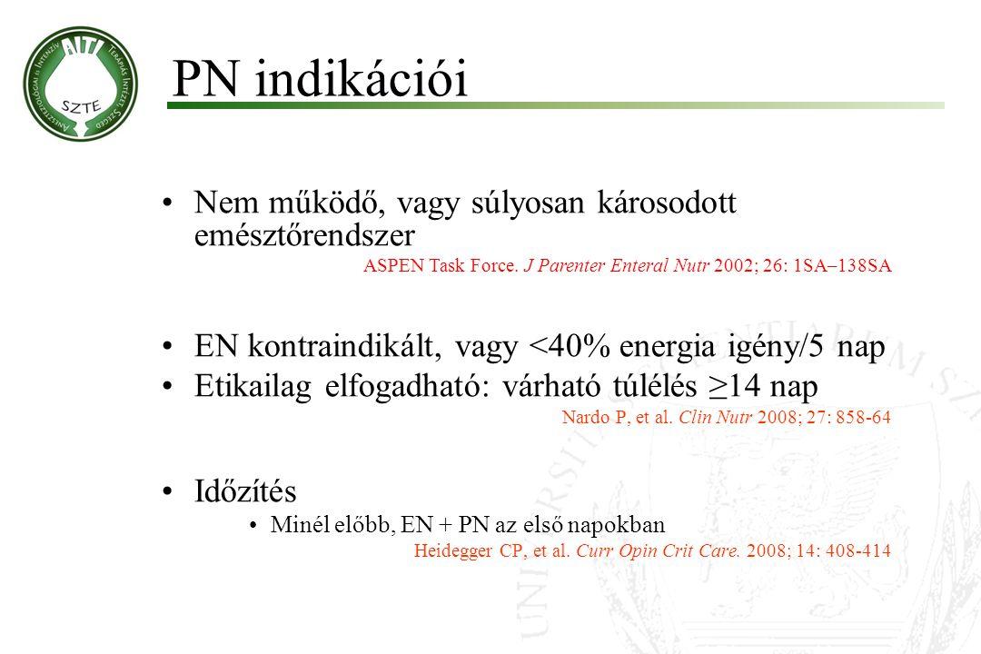 PN indikációi Nem működő, vagy súlyosan károsodott emésztőrendszer ASPEN Task Force. J Parenter Enteral Nutr 2002; 26: 1SA–138SA EN kontraindikált, va