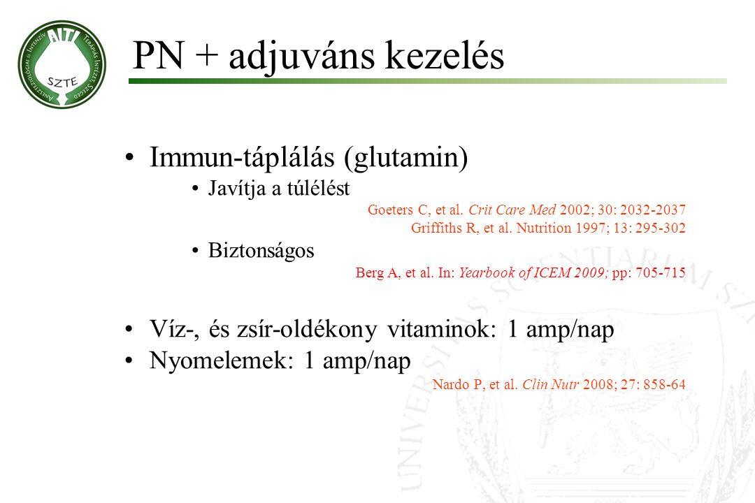 PN + adjuváns kezelés Immun-táplálás (glutamin) Javítja a túlélést Goeters C, et al. Crit Care Med 2002; 30: 2032-2037 Griffiths R, et al. Nutrition 1