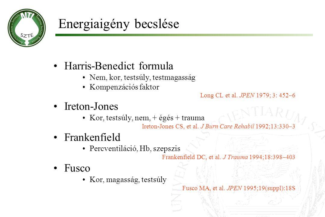 Energiaigény becslése Harris-Benedict formula Nem, kor, testsúly, testmagasság Kompenzációs faktor Long CL et al. JPEN 1979; 3: 452–6 Ireton-Jones Kor