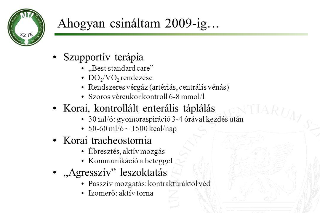 """Ahogyan csináltam 2009-ig… Szupportív terápia """"Best standard care"""" DO 2 /VO 2 rendezése Rendszeres vérgáz (artériás, centrális vénás) Szoros vércukor"""