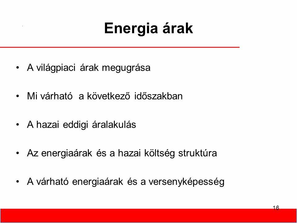 16 Energia árak A világpiaci árak megugrása Mi várható a következő időszakban A hazai eddigi áralakulás Az energiaárak és a hazai költség struktúra A várható energiaárak és a versenyképesség