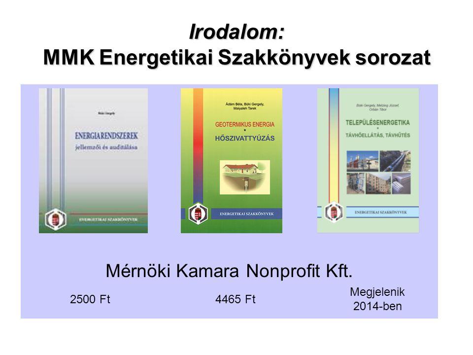 Irodalom: MMK Energetikai Szakkönyvek sorozat Mérnöki Kamara Nonprofit Kft.