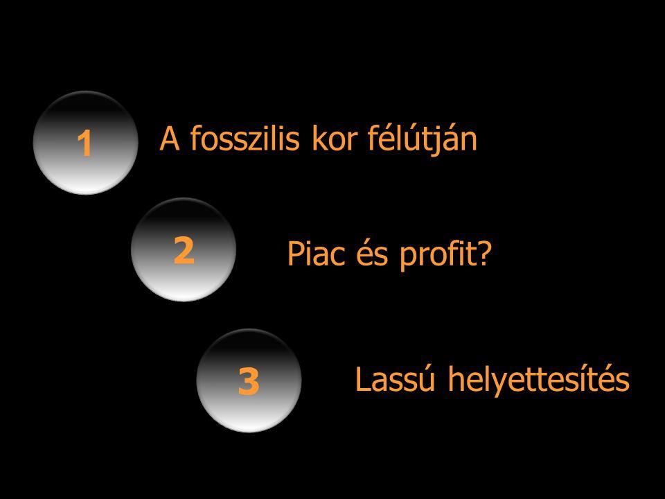 1 1 2 2 3 3 A fosszilis kor félútján Piac és profit? Lassú helyettesítés