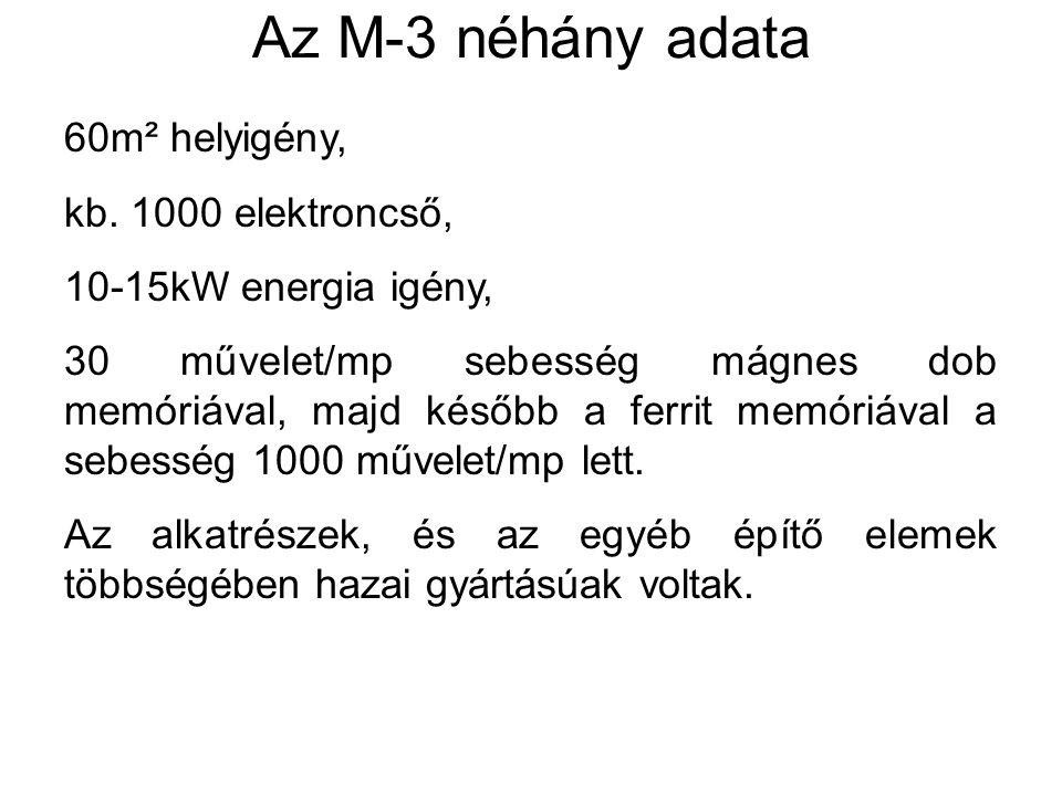 Az M-3 néhány adata 60m² helyigény, kb. 1000 elektroncső, 10-15kW energia igény, 30 művelet/mp sebesség mágnes dob memóriával, majd később a ferrit me