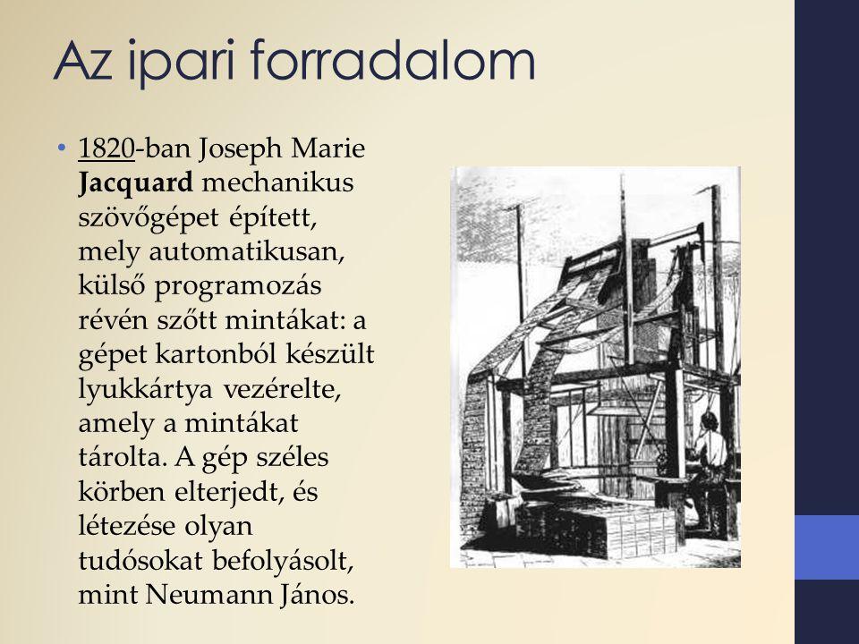 Az ipari forradalom 1820-ban Joseph Marie Jacquard mechanikus szövőgépet épített, mely automatikusan, külső programozás révén szőtt mintákat: a gépet