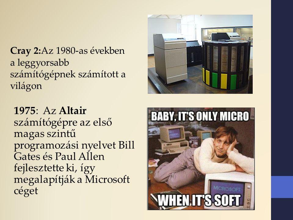1975: Az Altair számítógépre az első magas szintű programozási nyelvet Bill Gates és Paul Allen fejlesztette ki, így megalapítják a Microsoft céget Cr