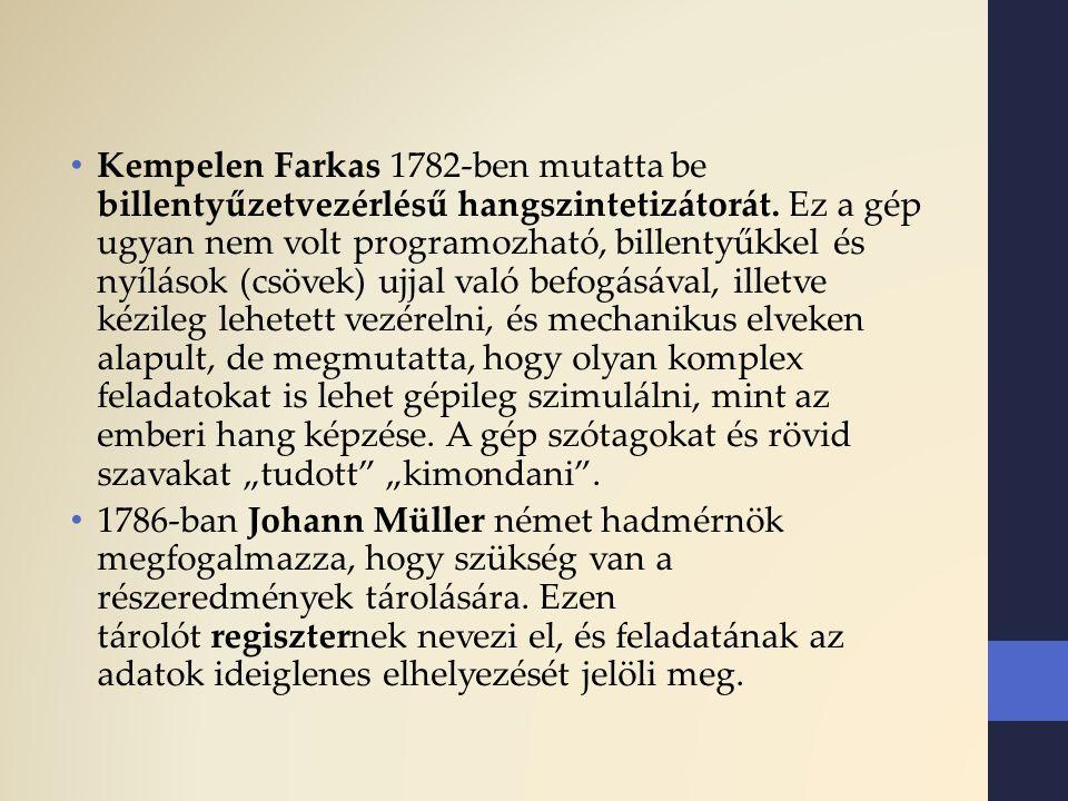 Kempelen Farkas 1782-ben mutatta be billentyűzetvezérlésű hangszintetizátorát. Ez a gép ugyan nem volt programozható, billentyűkkel és nyílások (csöve