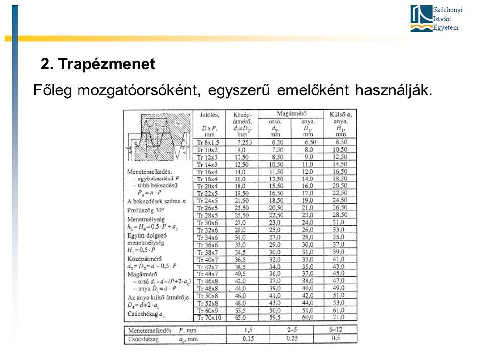 2. Trapézmenet Főleg mozgatóorsóként, egyszerű emelőként használják.