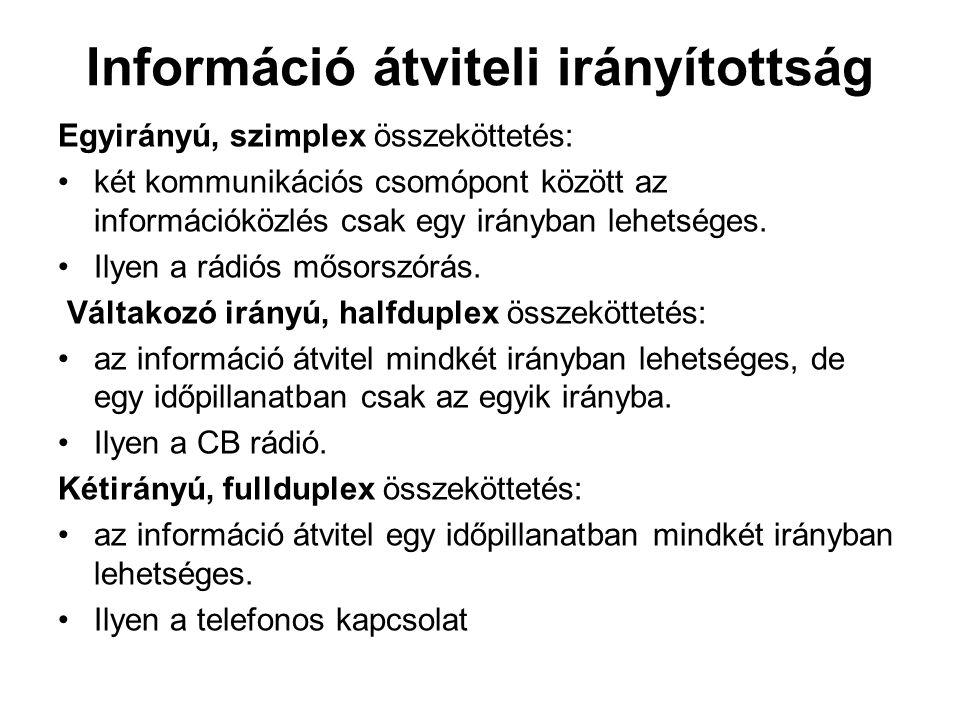 Információ átviteli irányítottság Egyirányú, szimplex összeköttetés: két kommunikációs csomópont között az információközlés csak egy irányban lehetség