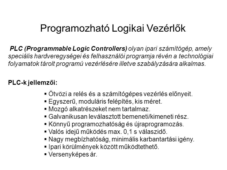 Programozható Logikai Vezérlők PLC (Programmable Logic Controllers) olyan ipari számítógép, amely speciális hardveregységei és felhasználói programja révén a technológiai folyamatok tárolt programú vezérlésére illetve szabályzására alkalmas.