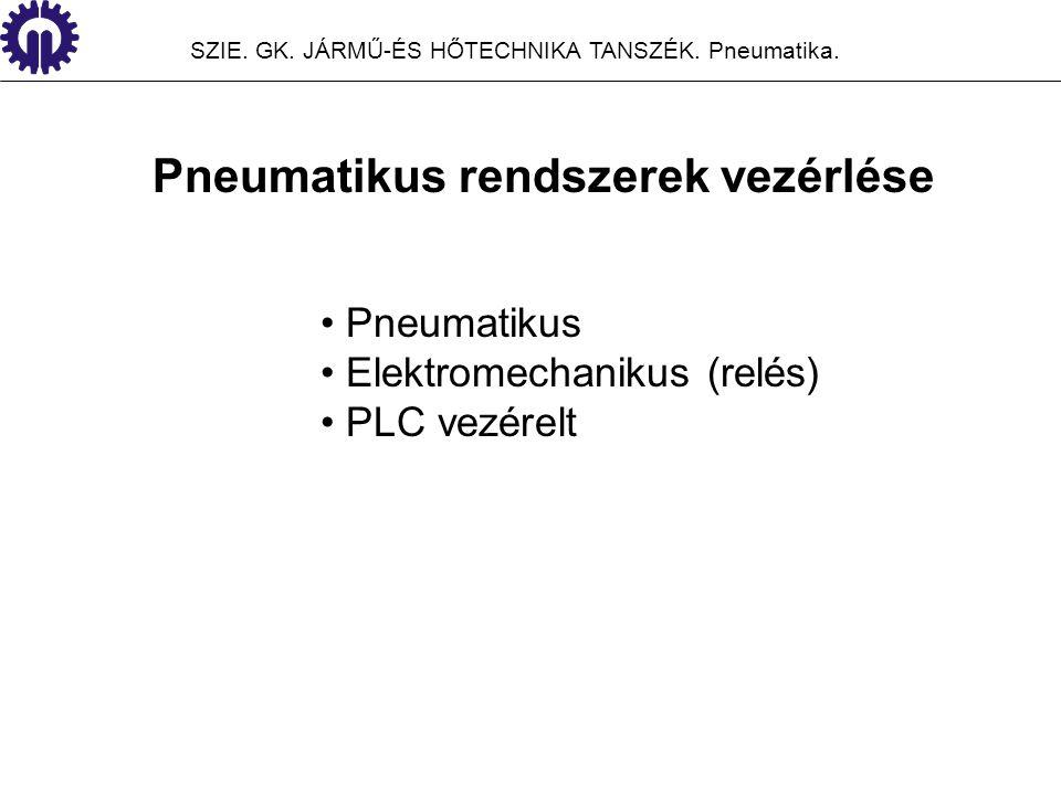 SZIE. GK. JÁRMŰ-ÉS HŐTECHNIKA TANSZÉK. Pneumatika. Pneumatikus rendszerek vezérlése Pneumatikus Elektromechanikus (relés) PLC vezérelt