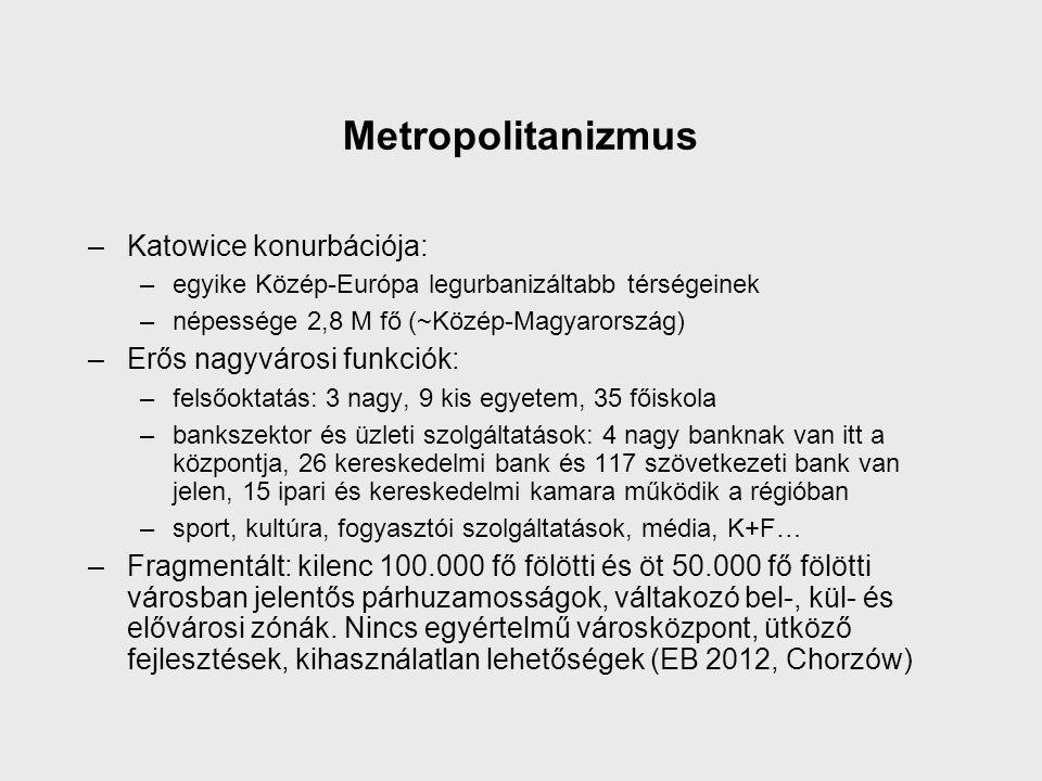 Metropolitanizmus –Katowice konurbációja: –egyike Közép-Európa legurbanizáltabb térségeinek –népessége 2,8 M fő (~Közép-Magyarország) –Erős nagyvárosi funkciók: –felsőoktatás: 3 nagy, 9 kis egyetem, 35 főiskola –bankszektor és üzleti szolgáltatások: 4 nagy banknak van itt a központja, 26 kereskedelmi bank és 117 szövetkezeti bank van jelen, 15 ipari és kereskedelmi kamara működik a régióban –sport, kultúra, fogyasztói szolgáltatások, média, K+F… –Fragmentált: kilenc 100.000 fő fölötti és öt 50.000 fő fölötti városban jelentős párhuzamosságok, váltakozó bel-, kül- és elővárosi zónák.