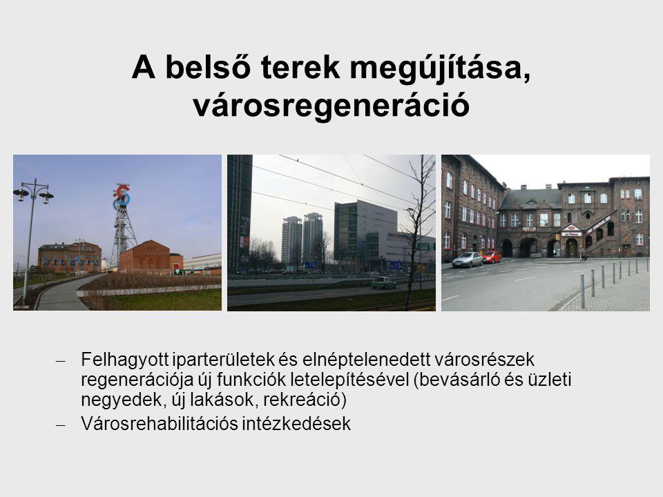 A belső terek megújítása, városregeneráció – Felhagyott iparterületek és elnéptelenedett városrészek regenerációja új funkciók letelepítésével (bevásárló és üzleti negyedek, új lakások, rekreáció) – Városrehabilitációs intézkedések