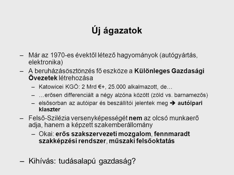 Új ágazatok –Már az 1970-es évektől létező hagyományok (autógyártás, elektronika) –A beruházásösztönzés fő eszköze a Különleges Gazdasági Övezetek létrehozása –Katowicei KGÖ: 2 Mrd €+, 25.000 alkalmazott, de… –…erősen differenciált a négy alzóna között (zöld vs.