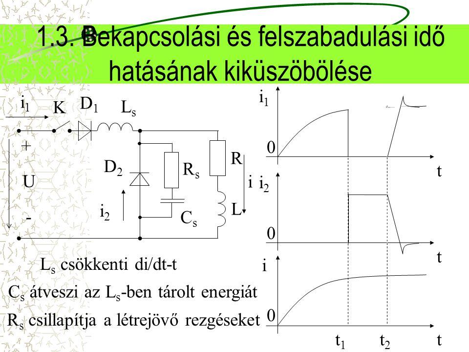 1.3. Bekapcsolási és felszabadulási idő hatásának kiküszöbölése t 0 i1i1 i 0 t t1t1 t2t2 t 0 i2i2 L s csökkenti di/dt-t i1i1 D1D1 i D2D2 i2i2 + - K R