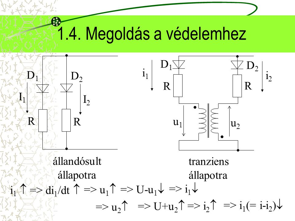 1.4. Megoldás a védelemhez => di 1 /dt  tranziens állapotra R D1D1 D2D2 R i1i1 i2i2 u1u1 u2u2 állandósult állapotra R D1D1 D2D2 R I1I1 I2I2 => u 1 