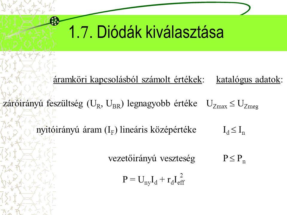 1. 7. Diódák kiválasztása I d  I n P = U ny I d + r d I eff 2 záróirányú feszültség (U R, U BR ) legnagyobb értéke U Zmax  U Zmeg P  P n nyitóirány