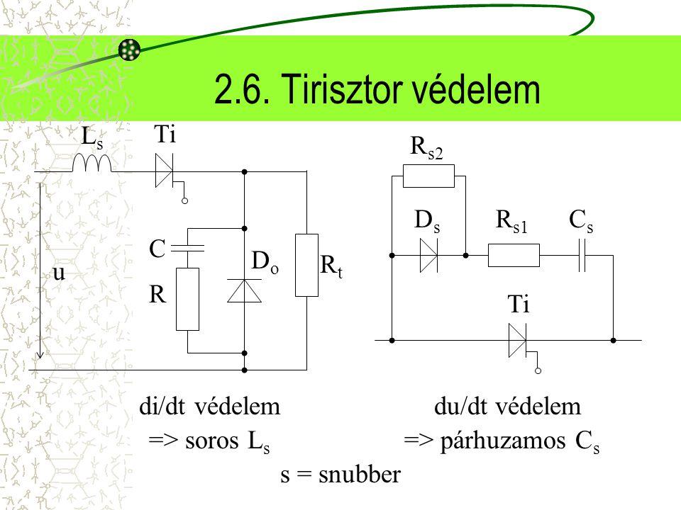 2.6. Tirisztor védelem u RtRt Ti DoDo R C LsLs CsCs DsDs R s1 R s2 di/dt védelemdu/dt védelem => soros L s => párhuzamos C s s = snubber