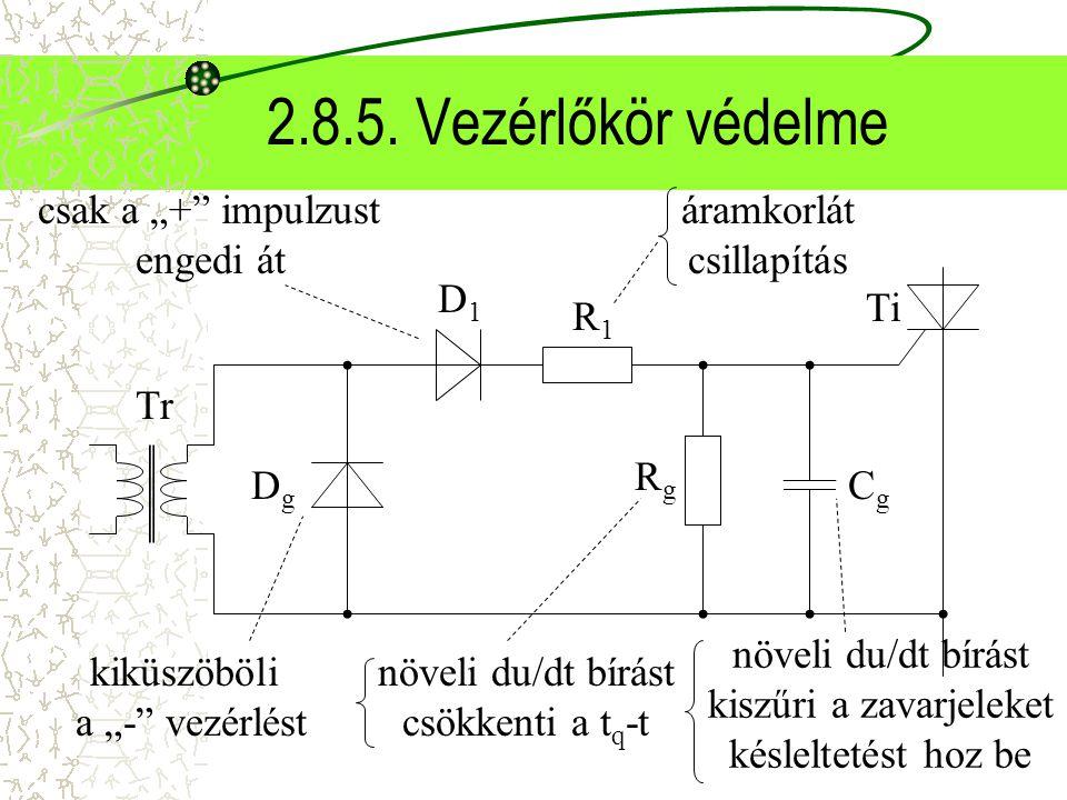 """2.8.5. Vezérlőkör védelme Tr DgDg D1D1 R1R1 RgRg CgCg Ti kiküszöböli a """"-"""" vezérlést csak a """"+"""" impulzust engedi át áramkorlát csillapítás növeli du/d"""