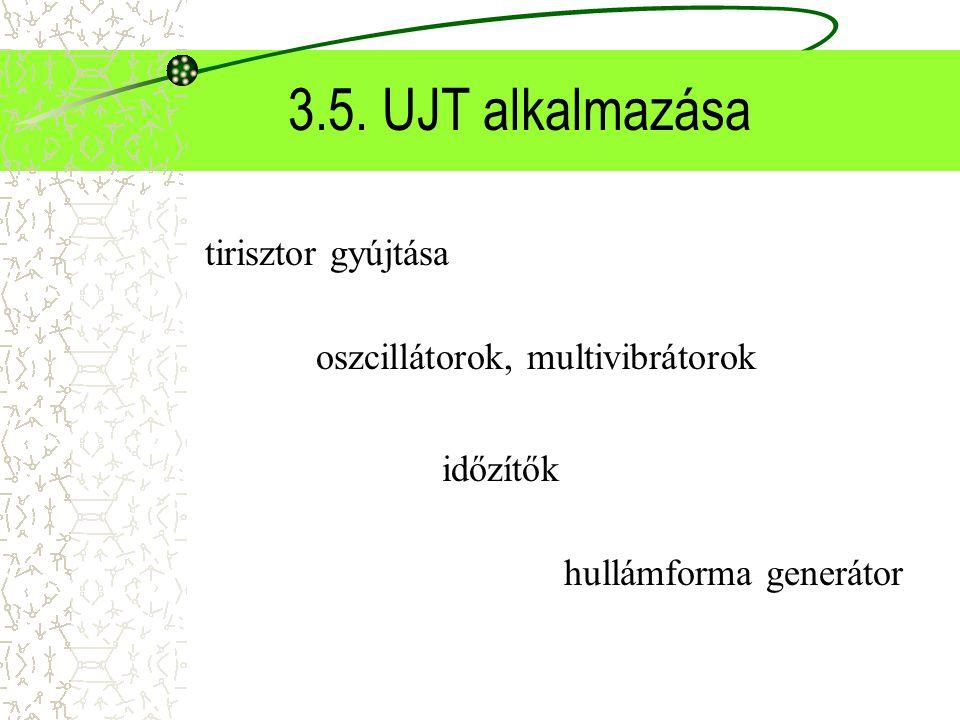 3.5. UJT alkalmazása tirisztor gyújtása oszcillátorok, multivibrátorok időzítők hullámforma generátor